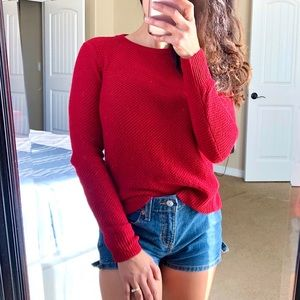 MADEWELL Red Backroad Button Back Knit Sweater